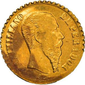 [#908726] Coin, Mexico, Maximilian, Peso, 1865, Restrike, MS(65-70), Gold