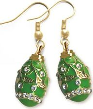 Faberge Egg Earrings with crystals 1.6 cm green #0852