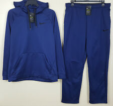 NIKE THERMA DRI-FIT SWEATSUIT HOODIE + SWEATPANTS BLUE BLACK NEW (SIZE LARGE)