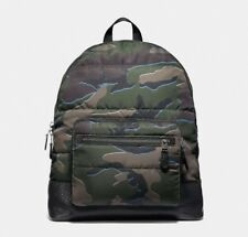 1a1cbb370fea Coach F31319 Mens West Backpack With Green Camo Print Quilted Nylon