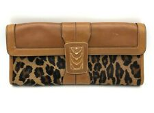 Cole Haan Leopard Print Calf Hair Leather Clutch Bag Evening Brown *1045