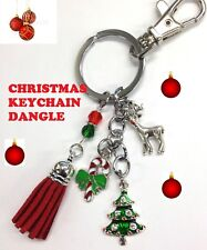 Leather Tassels Charm Xmas Tree Keychain Purse Bag Key Ring Christmas Gift