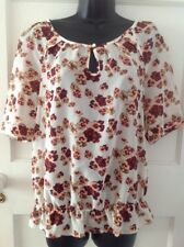 Next Floaty Floral Blouse Size 14 With Peplum Waist