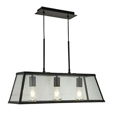 Searchlight 4613-3bk Matt Black Finish 3 Bulbs Lantern Bar Ceiling Pendant Light