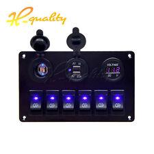 Waterproof 12V 6 GANG LED Switch Panel ON-OFF Rocker for Car Boat Marine