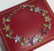 "Sterling Silver Multi Gemstone Flower Artisan Tennis Estate 925 Bracelet 7 3/4"""