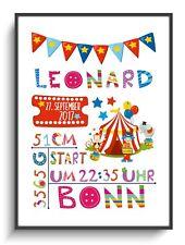 Geburtsbild A4 Taufgeschenk Zirkus 1 Wanddeko Personalisiert Poster Baby Kind