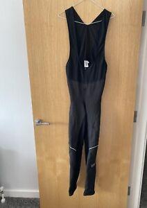 Men's Black Gore Bike Wear Windstopper Pro Bib Tights Cycling Suit Size XL