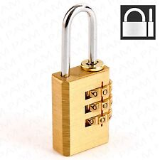 SMALL COMBINATION PADLOCK Solid Brass 3 Digit Lock Holiday Security Suitcase/Bag