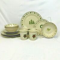 16 PIECE SET MERRY BRITE CHRISTMAS DISHES DINNERWARE SERVICE FOR 4 FREE SHIPPING