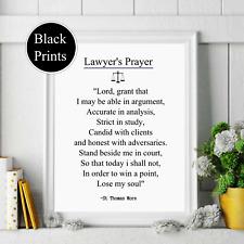 Lawyers prayer   black text Wall Print  Decor, Wall Art