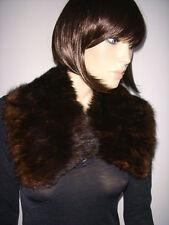 COLLO VISONE PELLICCIA marrone Fur collar mink sciarpa stola cappotto D0034