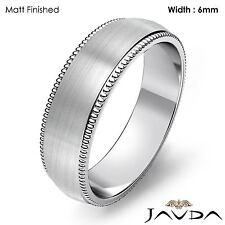 High Polish Men Wedding Band Dome Milgrain Edge Ring 6mm Platinum 12.4g 12-12.75