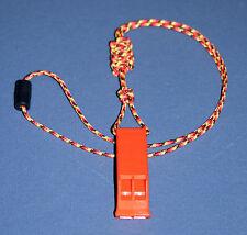 ITW Nexus Orange Aqua Marine Safety Whistle with Tactical Cord Neck Lanyard