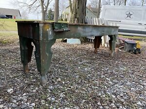 1900s Primitive Forest Green Farmhouse Work Bench Kitchen Island Country Table