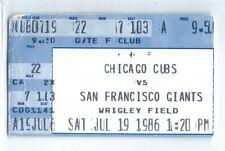 Ryne Sandberg, Dave Martinez home runs ticket stub; Giants at Cubs 7/19/1986
