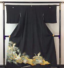 VINTAGE Kimono Giapponese di seta tomesode, logo ricamato gru, il Giappone Importazione (j1088)