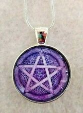 """PURPLE PENTAGON gothic 1""""glass pendant necklace handmade silver plated 20 chain"""