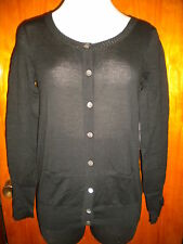 Victoria's Secret Black Pointelle Crew Neck Cardigan Sweater S/P Small S New