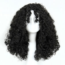 Black Women's Long Rhapsody Perms Curls Spiral Afro Black Wig With Two Bangs
