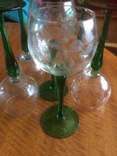 Vintage Rare Collectible Wine Glasses Set of 6 Green Stem Glass Floral Design