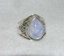 Rainbow Moonstone Balinese Teardrop Ring Sterling Silver Size 8.5