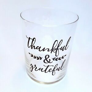 """Glass Vase Container Thankful Grateful Saying Country Home Inspirational 8"""" x 6"""""""