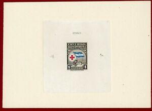 Honduras 1945 #RA3, Sunken Die Proof, Mother & Child, Red Cross, Flag, ABNC