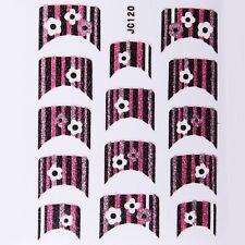 Nail Art Decal Stickers Glitter Nail Tips Black Pink Flowers Stripes JC120