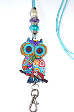 Aqua and Purple Paisley Owl Beaded Lanyard / ID Badge or Cruise Card Holder