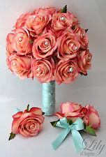 3 Pcs Bridal Bouquet, Boutonniere, Corsage Wedding Pearl Silk Flower CORAL PEACH