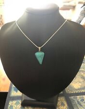 Turquoise Pendulum Pendant with Sterling Silver Pendant on 925 Silver 45cm Chain