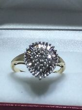 Diamond Ring, 10k Gold Round & Baguette Diamond  Pear Ring size 7 1/2