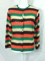 Mid Century Vtg Colorful Crochet Granny Knit Cardigan Sweater Boho Hippie Sz S