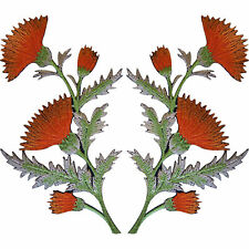 Pair of Orange Thistle Flower Patches Iron Sew On Embroidery Patch Badge Flowers