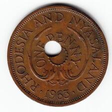 RHODESIA & NYASALAND 1 penny 1963 KM2 TERRIFIC ERROR Off-Center Hole VERY RARE!!