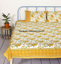 Indian Floral Printed Sheet With Pillow Case Cotton Bed Cover Bedding Bedspread