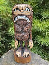 Chainsaw Carved FURIOUS BIG FOOT Cherry Wood MAD SASQUATCH Statue ORIGINAL ART
