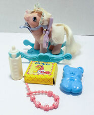Vintage My Little Pony Baby Blossom with Blue Rocker and Accessories MLP