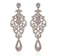 Pageant Austrian Crystal Rhinestone Chandelier Dangle Earrings E2090R Rose Gold
