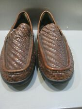 Men's Loafers Cole Haan Driving  Shoes Size 10 M Brown Woven Leather