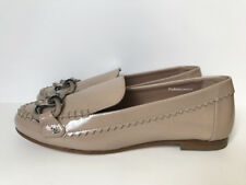 NIB $875 CHANEL 17C BEIGE PATENT LEATHER CHAIN FLATS LOAFERS MOCCASIN 35.5