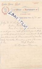 1900 letterhead SULPHUR SPRINGS GAZETTE TEXAS Oldest Newspaper H. BASCOM THOMAS