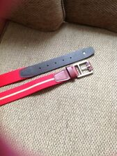 "LACOSTE MEN BELT SIZE M, RED / KHAKI STRIPE, N/W/T, 42"" MEASURED TOTAL LENGHT"