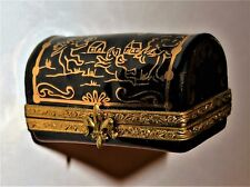 Limoges France Box- Museum Collection Chest - Gold Angels & Bird & Trees & House