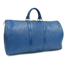 Auth LOUIS VUITTON Epi Keepall 55 M42955 Traveling bag Blue Leather AB0413