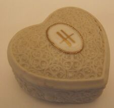 GENIAL Harrods Knightsbridge Caja para joyas Corazón Blanco Porcelana Vintage