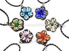 FREE Wholesale Lot 6ps Flowr Lampwork Glass Pendants Black Leather Cord Necklace