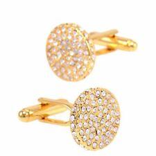 Hermosa ronda Gemelos de oro con piedras incrustadas para todas las ocasiones vendedor del Reino Unido