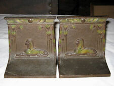ANTIQUE BRADLEY HUBBARD ART DECO SPHINX BOOKENDS CAST IRON DESK EGYPT BRONZE URN